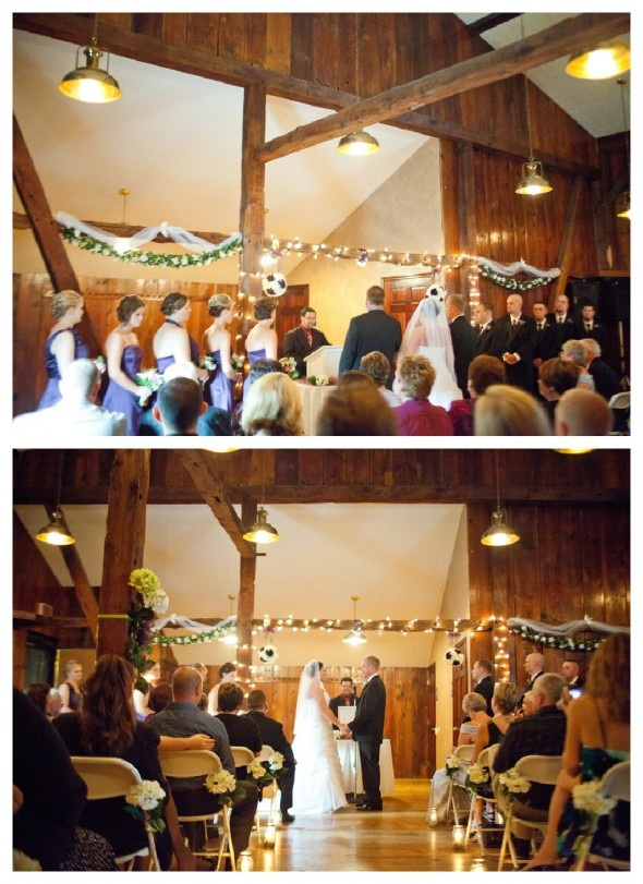 A ceremony for a wedding in a barn