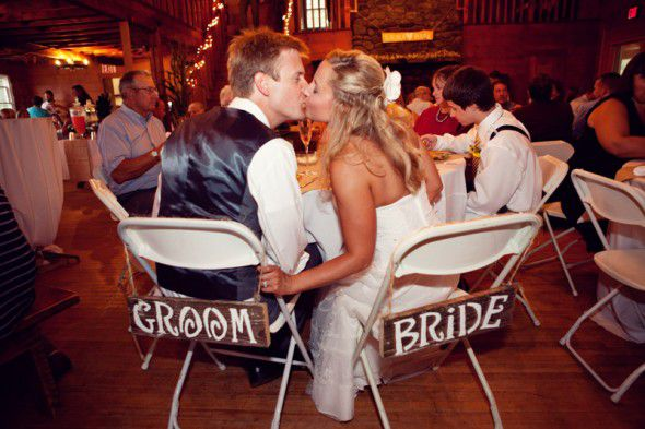 Rustic wood bride and groom signs