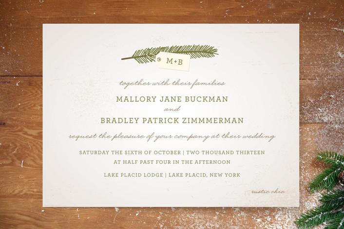 An evergreen wedding invitation