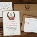 A wedding invitations with kraft paper