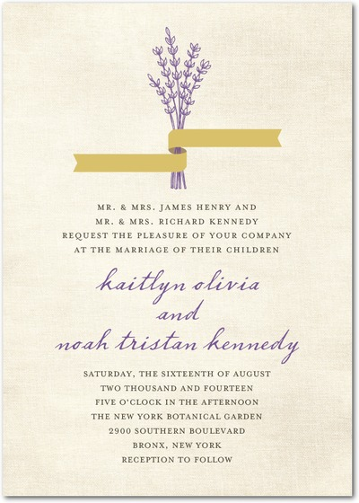 A wedding invitation with lavender and gold