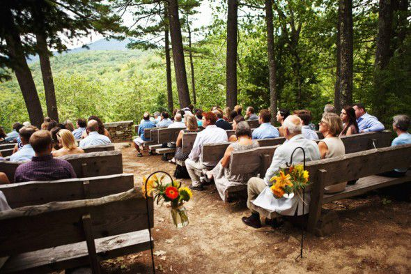 An outdoor rustic wedding ceremony site