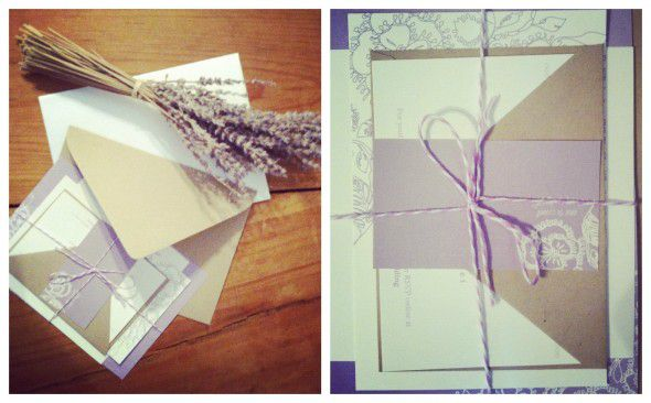 Purple lavender wedding invitations
