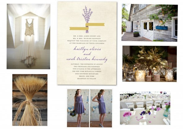 A purple and gold wedding theme