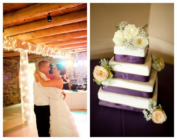 A purple white wedding cake