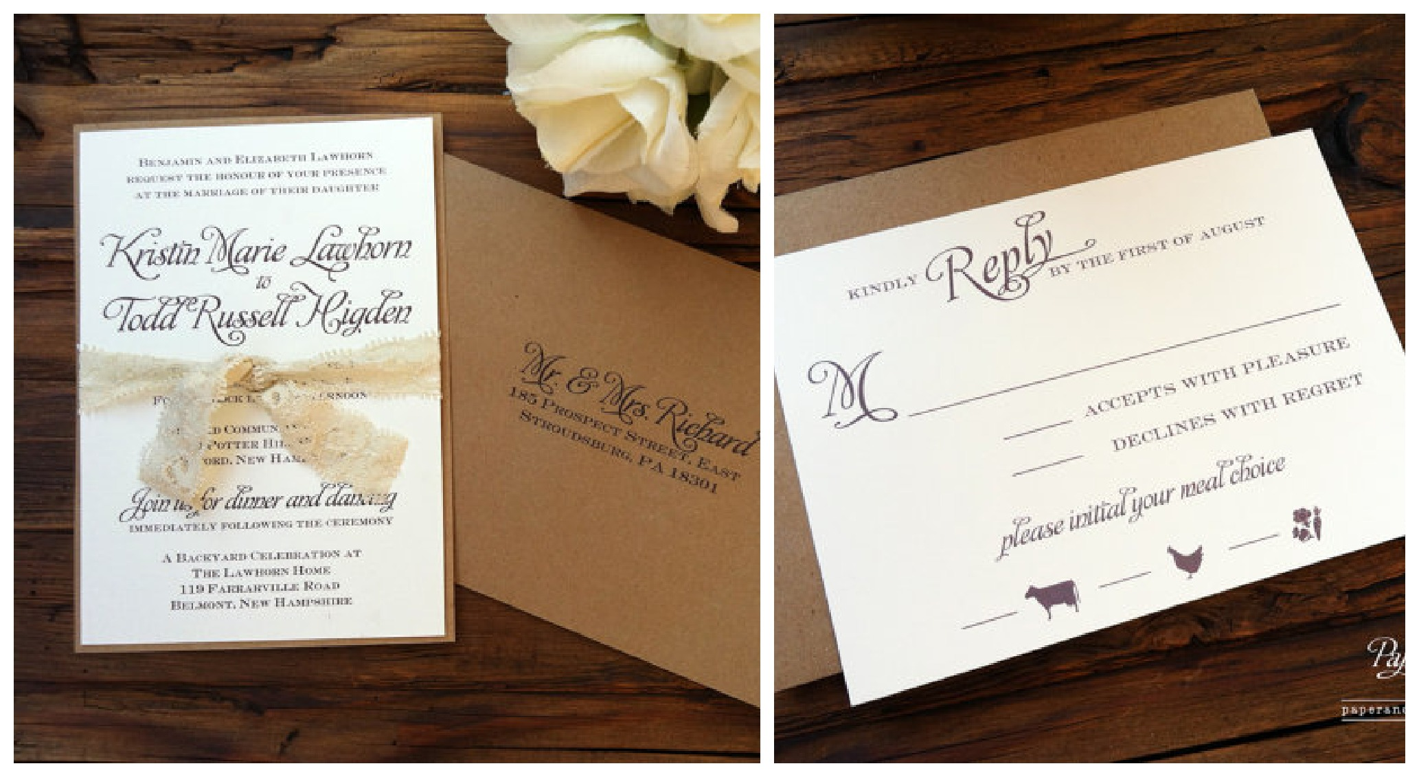 Kraft Paper Invitations & Wedding Stationary