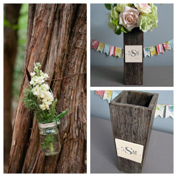 Wood vase for rustic wedding