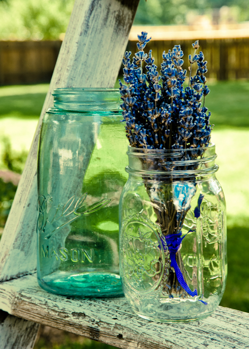 Mason Jars At A Backayrd Wedding