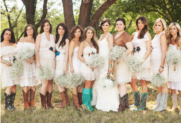 Bridesmaids in different color cowboy boots