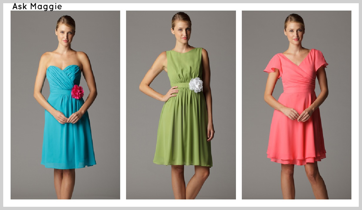 Soft flowy bridesmaid dresses rustic wedding chic for Bright colored wedding dresses