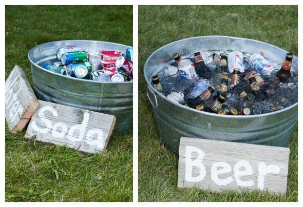 Galvanized Buckets Of Drinks