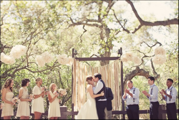 Outdoor Pink Wedding Ceremony