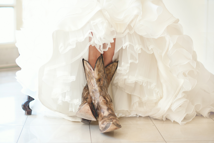 Q A How To Wear Cowboy Boots With My Wedding Dress