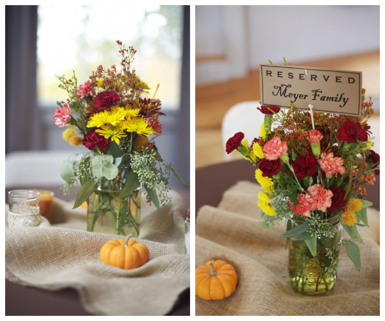 Rustic Wedding Centerpieces Part - 50: Fall Rustic Wedding Centerpiece