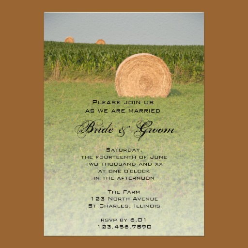 Hay Bale Wedding Invitation