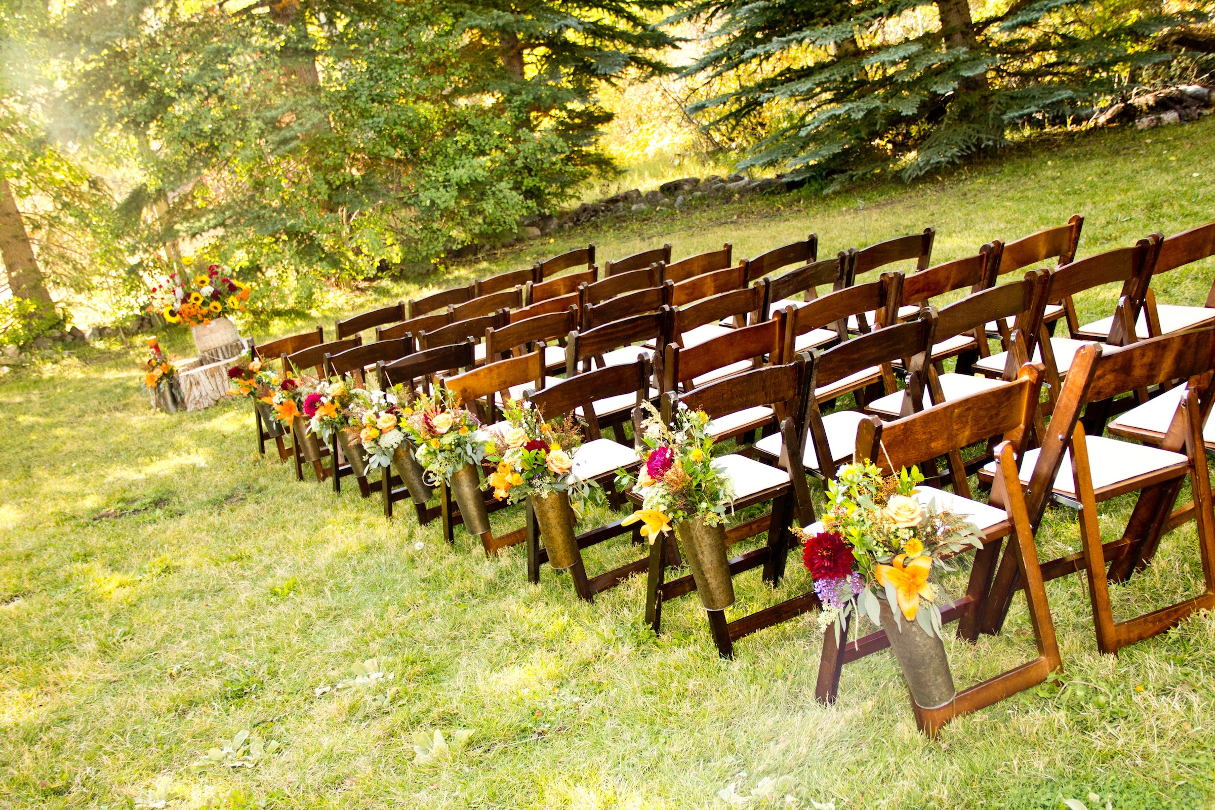 Simple Outdoor Ceremony Decorations: Park City Utah Wedding