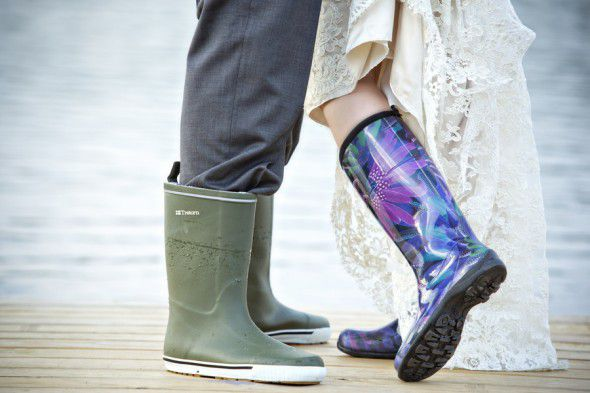 Rain Boots On Bride And Groom