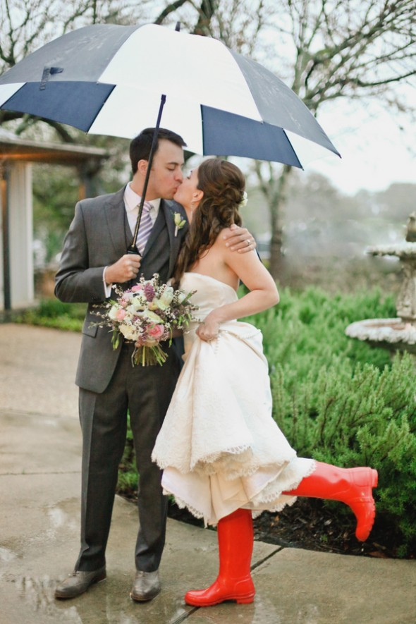 Red Rain Boots On Bride