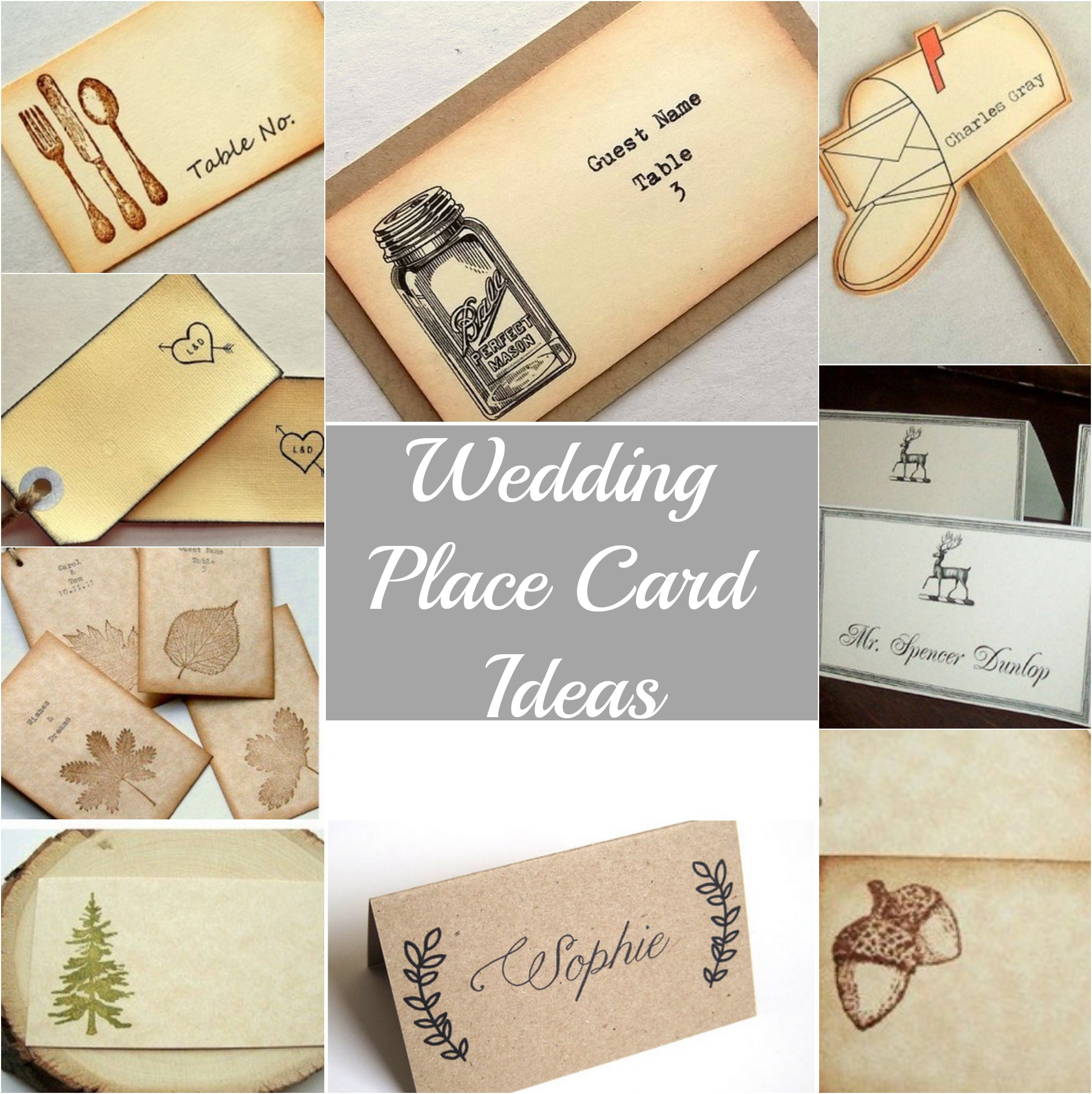 Rustic wedding place cards rustic wedding chic Unique place card ideas