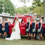 Red Pickup Truck At Wedding