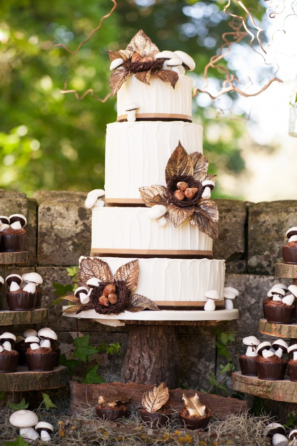 Woodland theme wedding cake