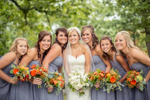 Orange and Gray Wedding