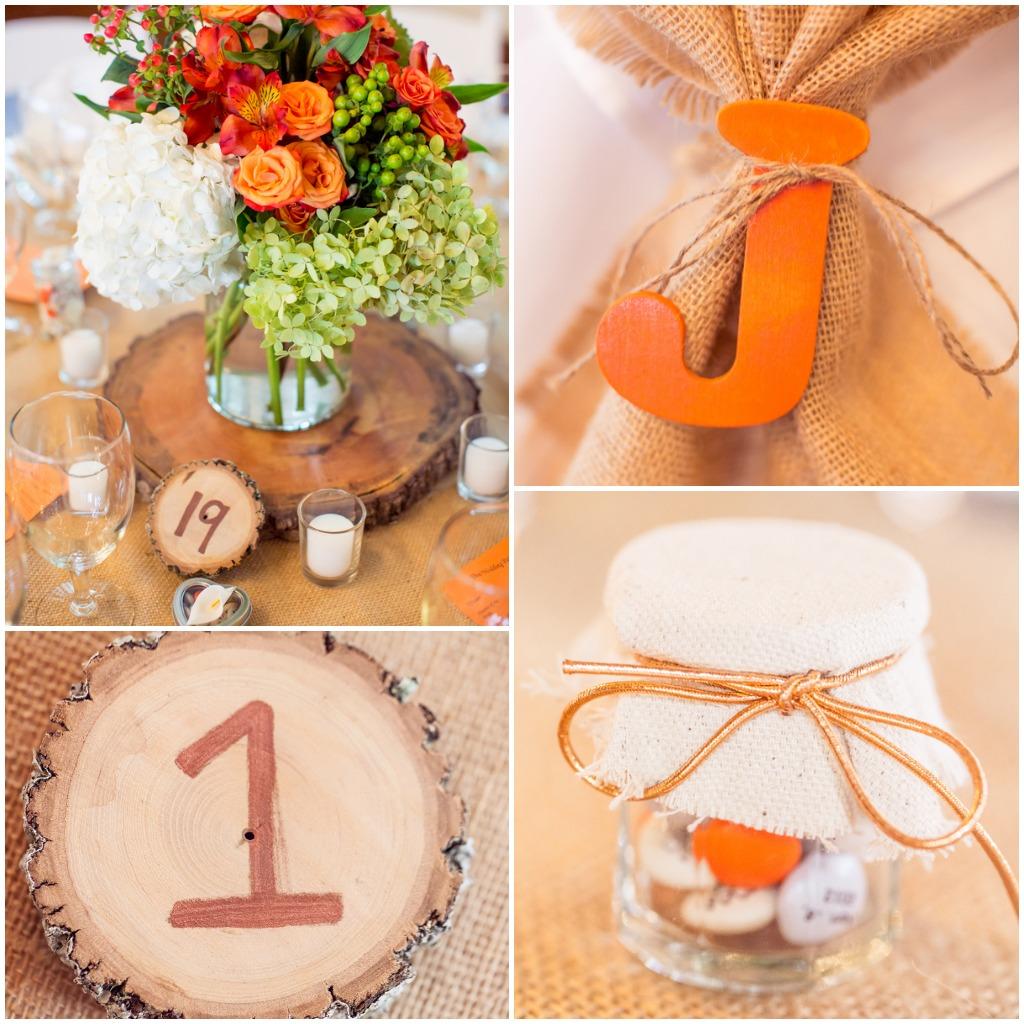 Orange Gray Wedding Colors Rustic Wedding Chic