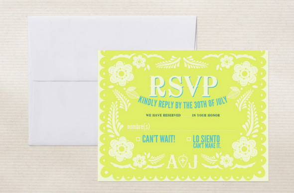 yellow rsvp card