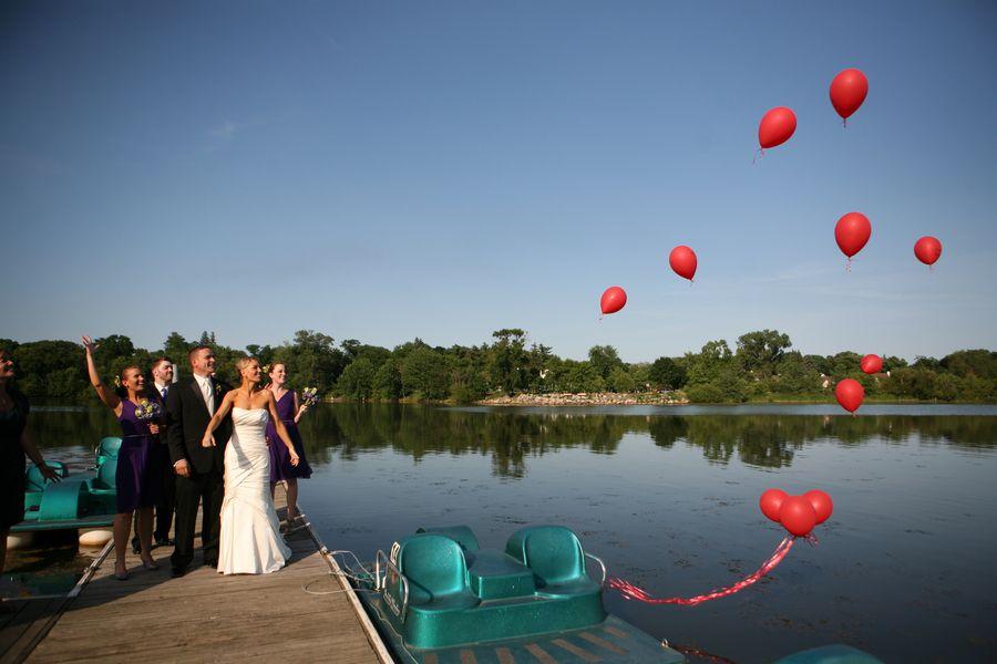 Red Balloons At Wedding