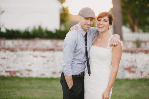 Happy Backyard Wedding Couple