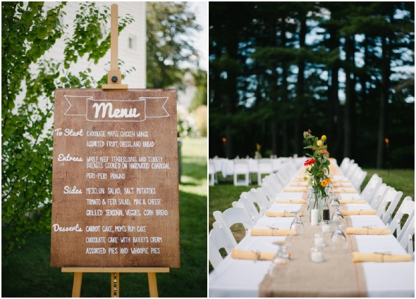 Backyard Wedding Menu