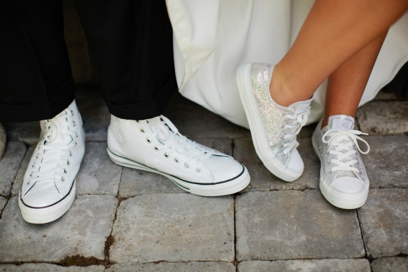 bride and groom in sneakers galvanized buckets for wedding