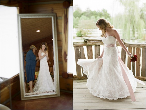 Lace Wedding Gown With Pink Sash