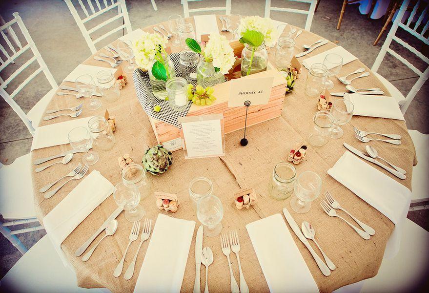 Kentucky Wedding Ceremony Farm Burlap Tablecloths