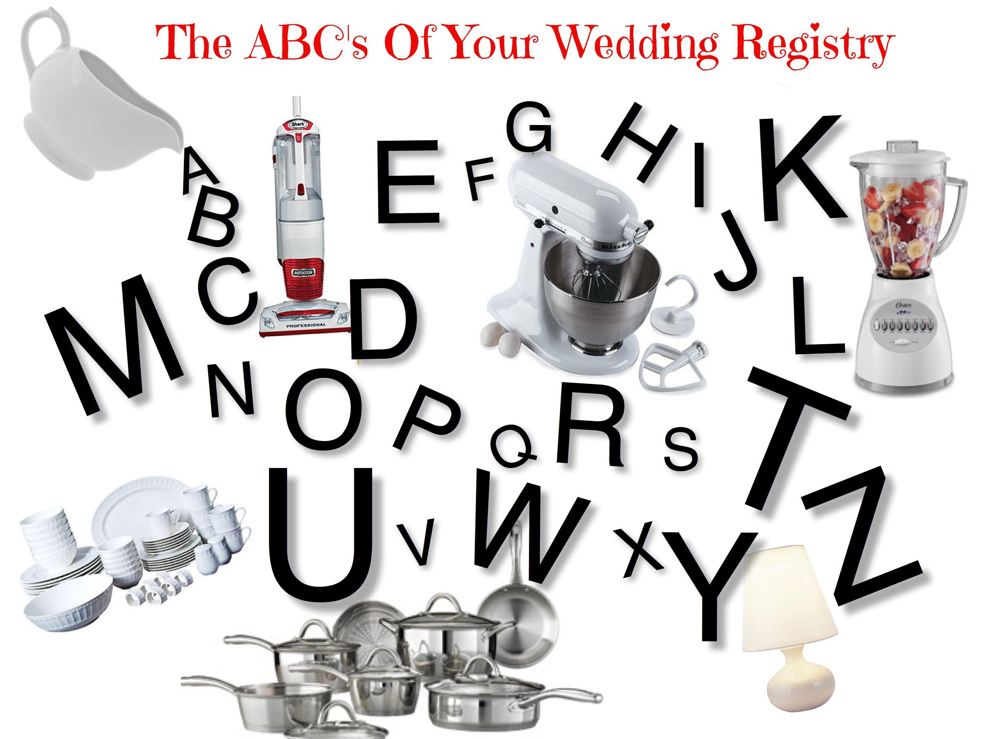 ABC's of wedding registry