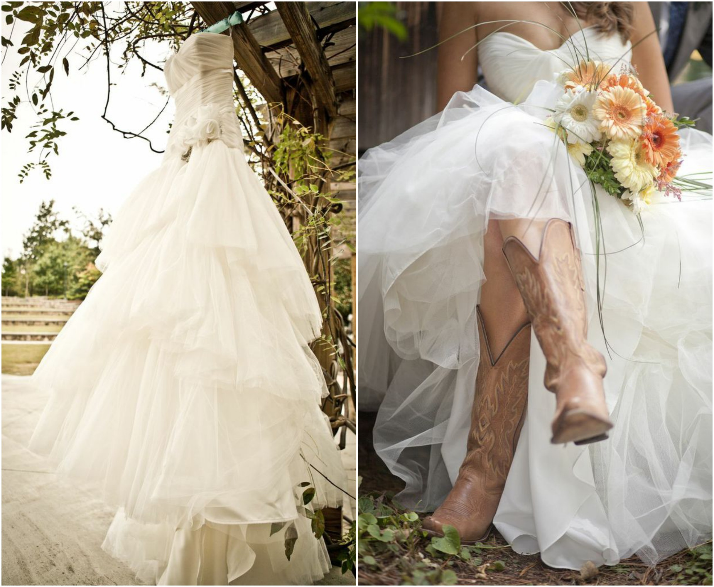 Rustic wedding with bridesmaids in cowboy boots rustic for Wedding dresses with cowgirl boots