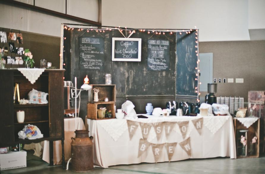 Summer camp rustic wedding karen scott rustic wedding for Coffee bar for wedding