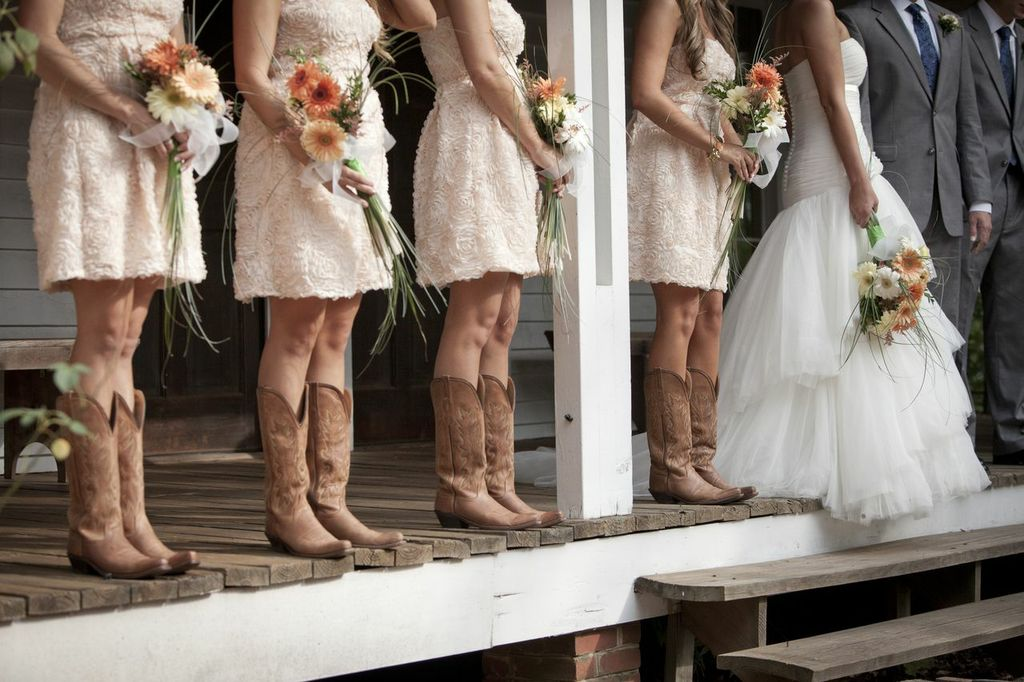 Wedding Dresses For Cowboy Boots : Rustic wedding with bridesmaids in cowboy boots