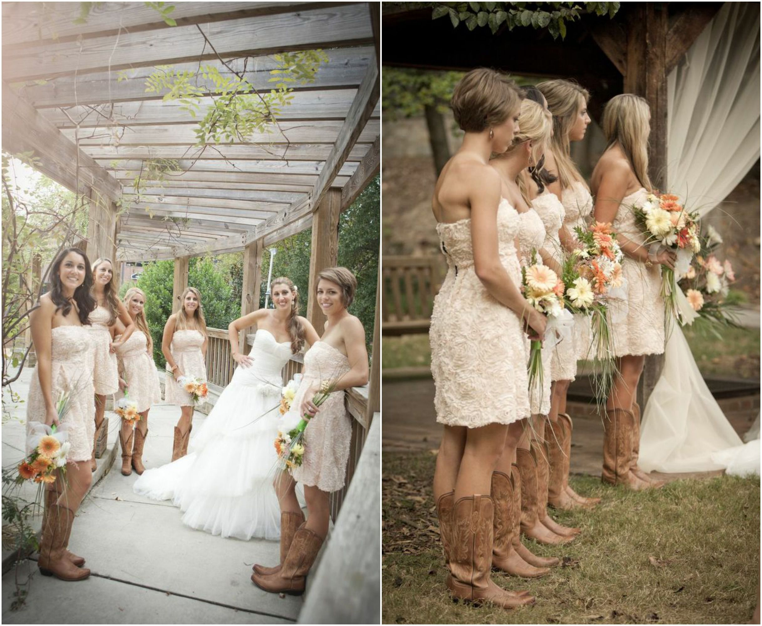 Rustic wedding with bridesmaids in cowboy boots rustic for Rustic country wedding dresses