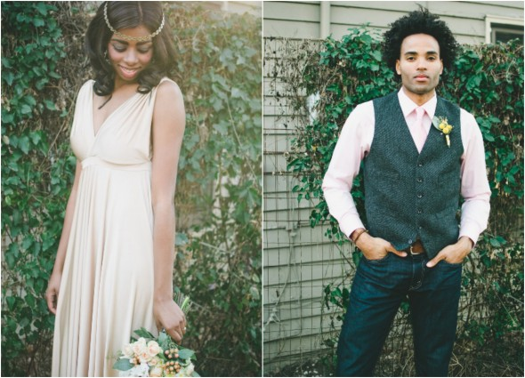 vintage chic wedding couple