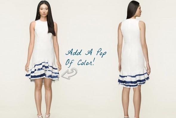 Short white ralph lauren dress for wedding rustic for White wedding dress with blue trim