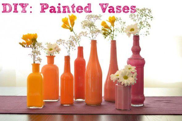 Diy Painted Vases Rustic Wedding Chic