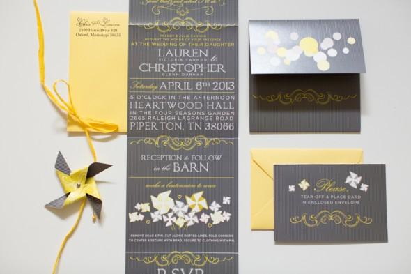 Yellow Grey Wedding Invitations: Country Yellow Themed Wedding