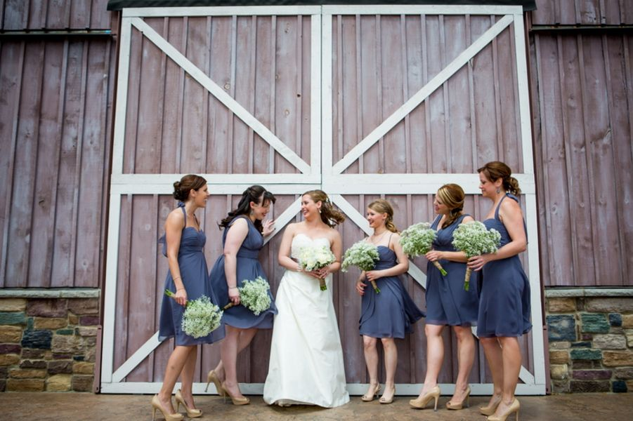 Bridesmaids Infront Of barn