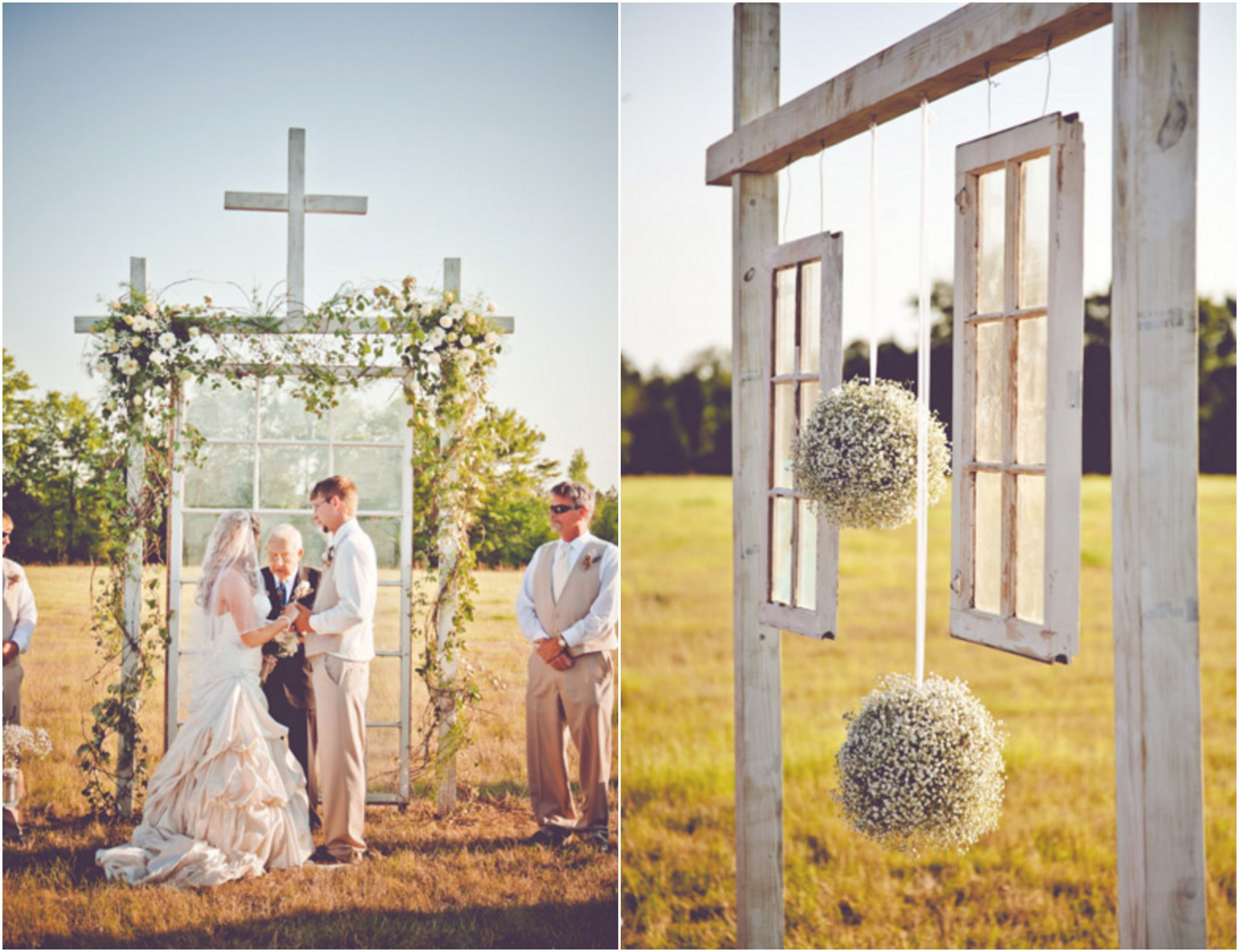 Burlap inspired country wedding trudie robbie rustic wedding chic hanging windows for outdoor wedding junglespirit Images