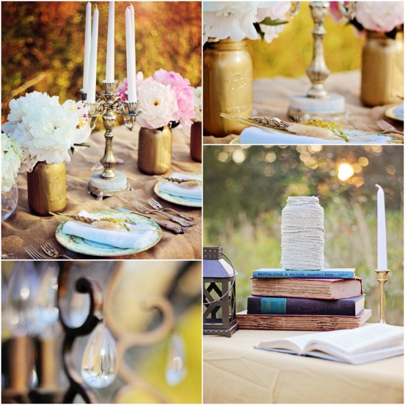 Vintage Wedding Centerpieces Ideas: Rustic Gold Wedding Theme