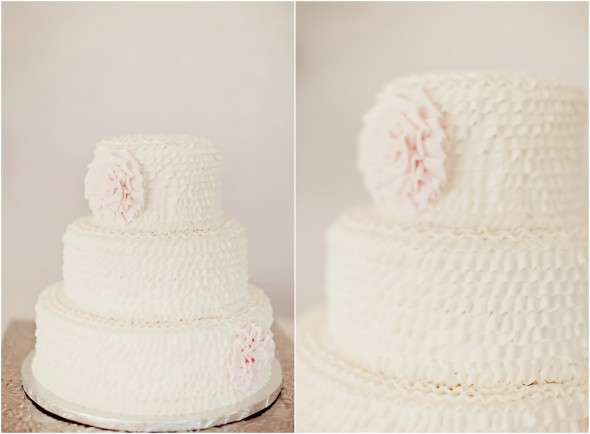 White Pink Wedding Cake