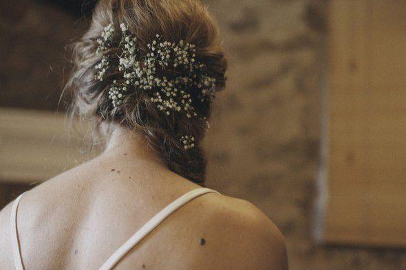 Babies Breath In Bride's Hair