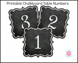 Chalkboard Table Numbers printables