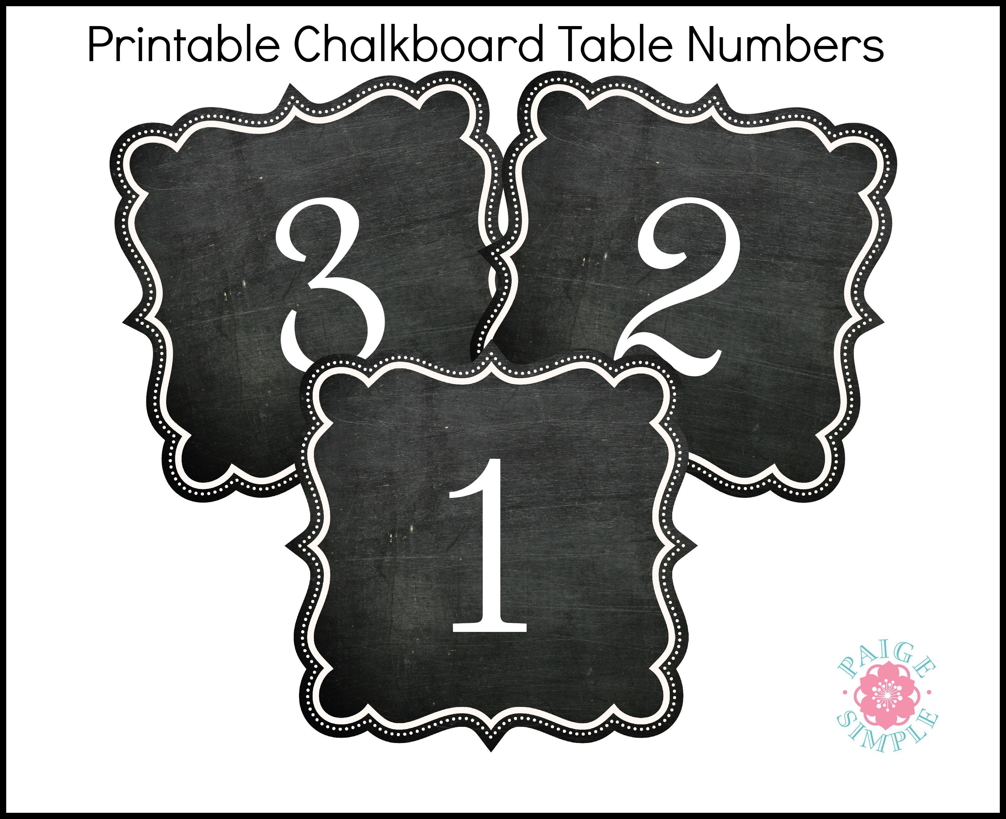 Chalkboard Table Numbers printables